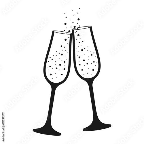 Fotografie, Obraz  champagne glass isolated icon