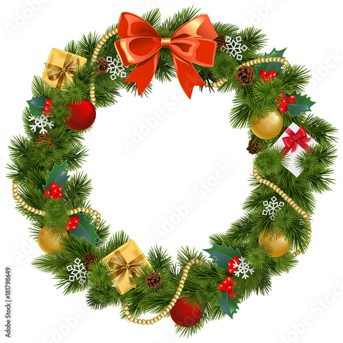 Carta da parati Vector Christmas Wreath with Mistletoe