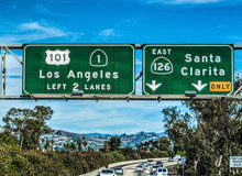 Los Angeles Exit Sign On 101 F...