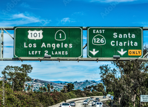Poster Los Angeles Los Angeles exit sign on 101 freeway southbound