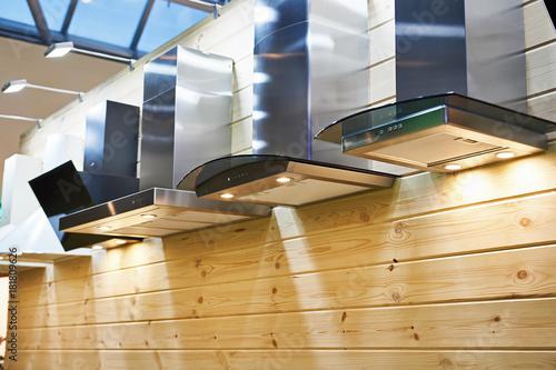 Fotografía  Kitchen hoods in furniture store