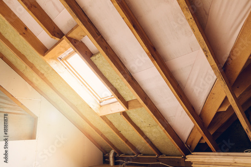 Fotografie, Obraz house attic under construction mansard wall insulation with rock wool