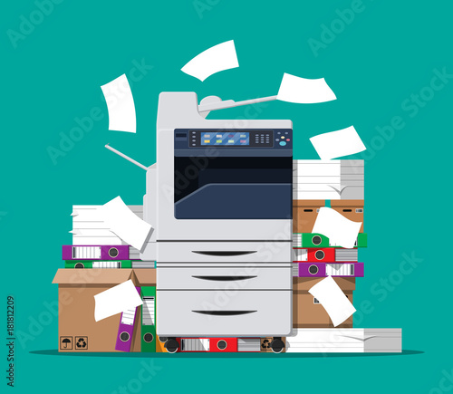 Canvastavla Pile of paper documents and printer