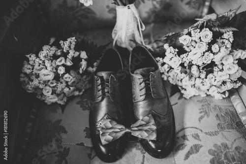 Foto op Plexiglas Men's accessories with luxury shoes. Top view
