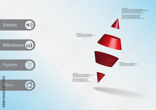3D Illustration Infographic Template With Two Spike Cone Divided To Four Parts Askew Arranged