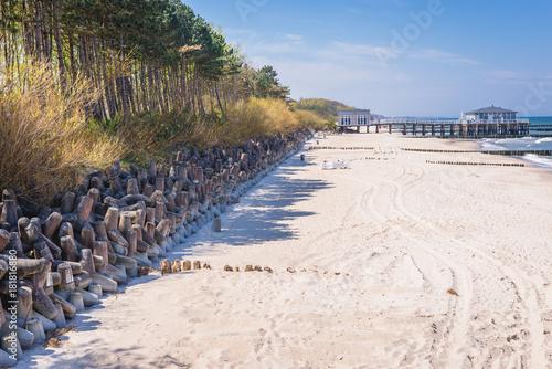 Beach in Ustronie Morskie coastal village in Poland