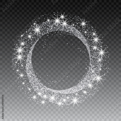 Carta da parati Vector silver glitter circle abstract background, silver sparkles on white background, silver glitter card design