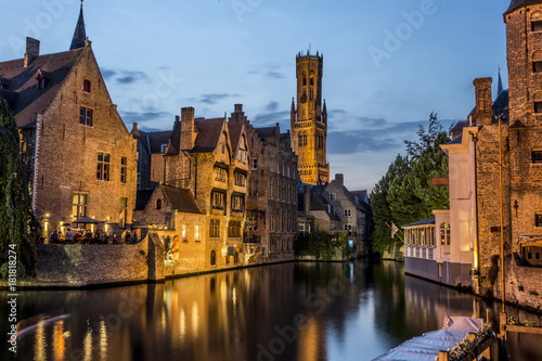 Poster Bridges Night view of old Brugges