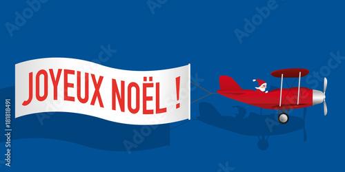 noël - père noël - avion - banderole - carte de vœux - joyeux noël - concept - h Canvas-taulu