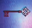 Schlüssel, alter Schlüssel, edler Hotelschlüssel auf schillerndem Grund, Illustration, Schloß, aufschließen