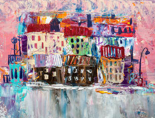 Abstract painting of city b...