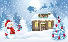 Christmas Card With Snowman An...