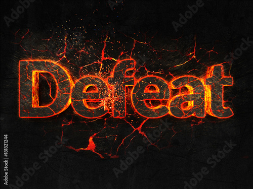 Fotografía  Defeat Fire text flame burning hot lava explosion background.