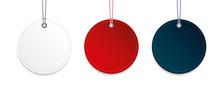 Runde Etiketten Weiß Rot Blau
