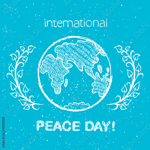 Peace Day International Holiday Poster with Earth Wall mural