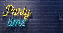Party Time Sign On Black Brick Wall Background 3D Rendering