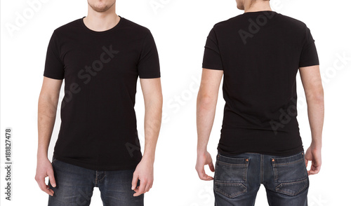 Obraz T-shirt template. Front and back view. Mock up isolated on white background. - fototapety do salonu