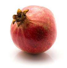 One Pomegranate Isolated On White Background.