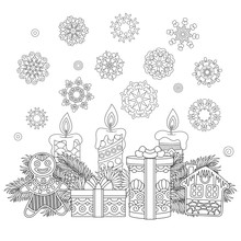 Coloring Page With Christmas Ornaments, Children Presents, Cookies, Candles, Vintage Snowflakes. Freehand Sketch Drawing For 2018 Happy New Year Greeting Card Or Adult Antistress Coloring Book.