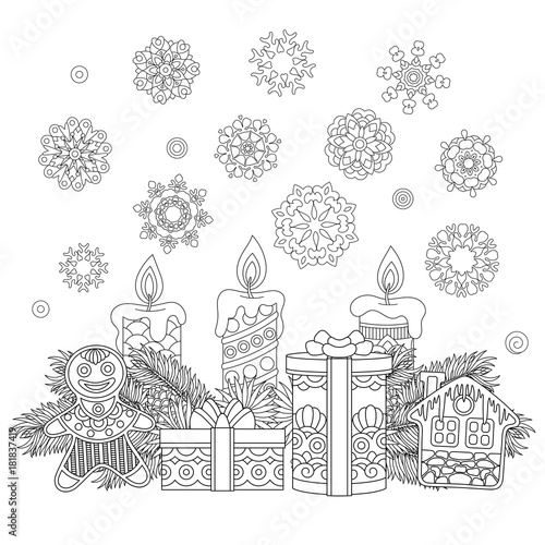 Coloring Page With Christmas Ornaments Children Presents