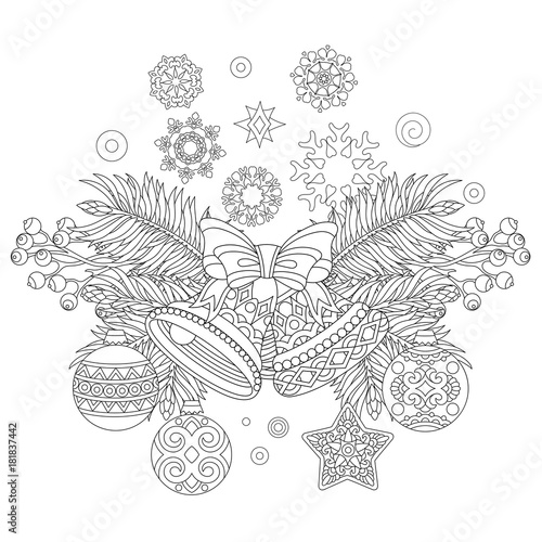 Coloring Page With Christmas Decorations Fir Tree Jingle Bells
