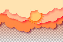 3d Abstract Paper Cut Illustration Of Pastel Orange Sky, Sun And Clouds. Vector Colorful Template.