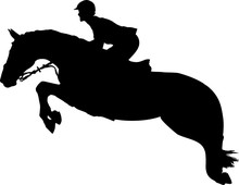 Silhouette Of A Rider And A Horse Are Jumping Over An Obstacle.
