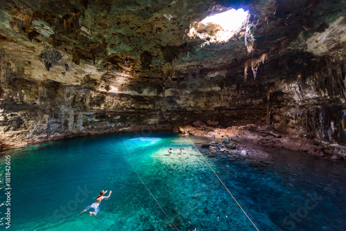 Cenote Samula Dzitnup near Valladolid, Yucatan, Mexico - swimming in crystal blue water