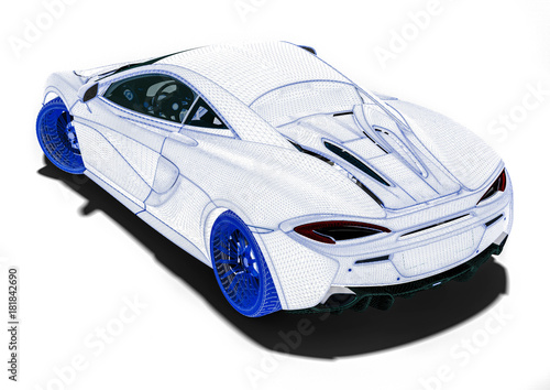 Wire Frame supercar / 3D render image representing an luxury car in ...