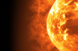 canvas print picture - Sun surface with solar flares. Abstract scientific background. 3d illustration
