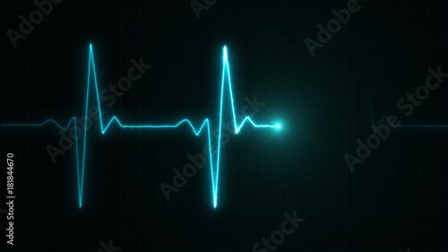 Fotografie, Obraz  Cardiogram cardiograph oscilloscope screen blue illustration background