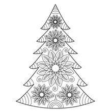 Mandala Christmas Tree Vector For Coloring Book, Albero Di Natale Mandala Vettoriale Da Colorare