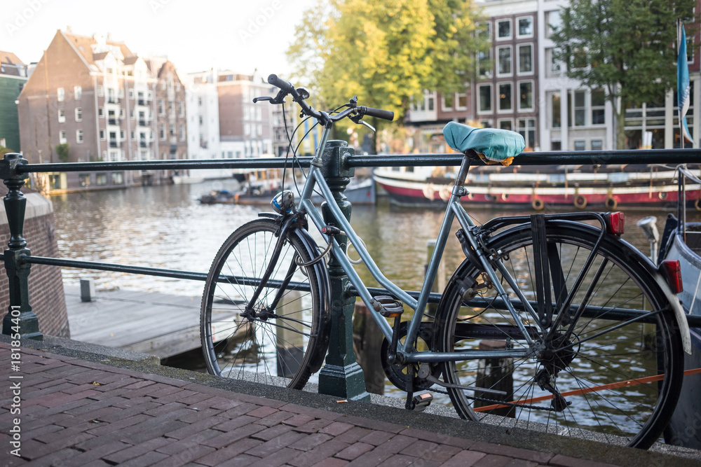 Photo & Art Print Bicycles and flowers in Amsterdam Holland