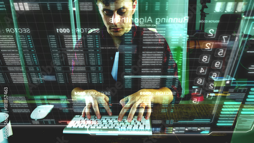A programer hacker trying to breached the computer security by using algorithm s Wallpaper Mural