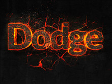 Dodge Fire Text Flame Burning Hot Lava Explosion Background.