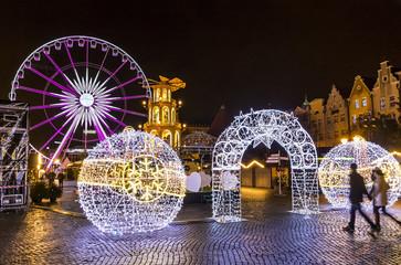Traditional Christmas fair on Targ Weglowy in Gdansk, Poland