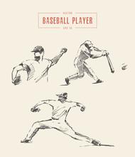 Baseball Players Drawn Vector ...