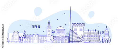 Dublin skyline Ireland vector buildings city