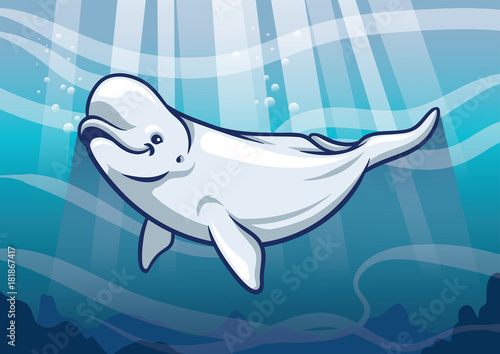 Lerretsbilde Beluga Whale in the ocean