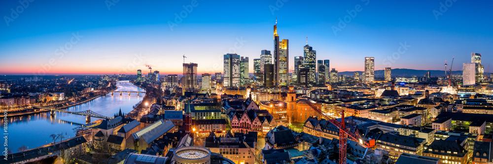 Fototapeta Frankfurt am Main Skyline Panorama bei Nacht