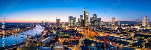 Zdjęcie XXL Panorama panoramę Frankfurt am Main w nocy