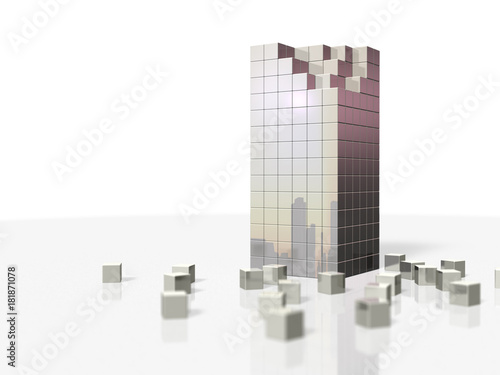 Fotografie, Obraz  崩壊したビルを表すアブストラクト3DCGイラスト
