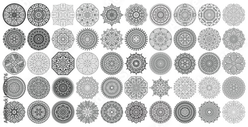 Big vector set of round patterns. Collection of geometrical mandalas. Boho ornament.