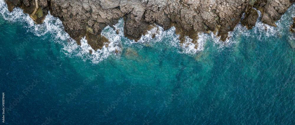 Fototapeta Aerial view of sea waves and fantastic Rocky coast, Montenegro