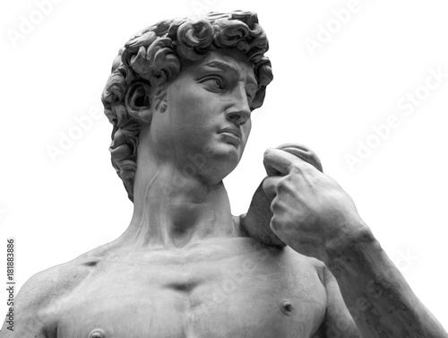 Foto  Head of a famous statue by Michelangelo - David from Florence, isolated on white