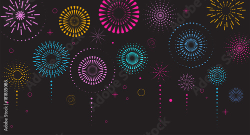 Photo Fireworks and celebration background, winner, victory poster