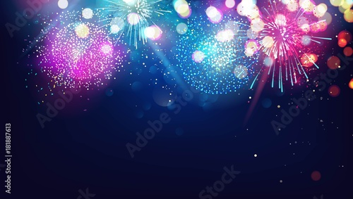 abstract new year background with colorful fireworks and christmas lights vector festive illustration