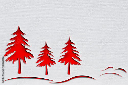Valokuva  Red christmas trees with punch paper design is on white background with drawing