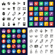 Medieval Castle All in One Icons Black & White Color Flat Design Freehand Set
