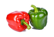 Fresh Peppers Isolated On Whit...